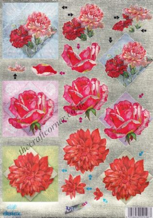 Carnations & Rose Flowers 3d Die Cut Decoupage Sheet From Dufex